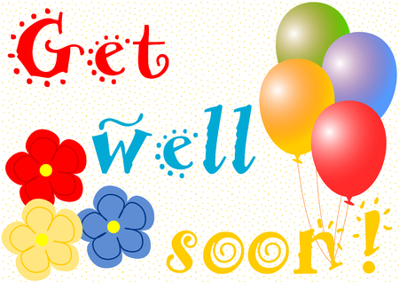 get well: Get well soon wishes with balloons and large flowers on yellow dotted background