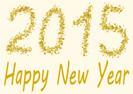spangles: Happy New Year 2015 - the numbers of 2015 are written in gold spangles