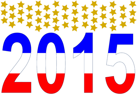 2015 in American colors with 50 golden stars above Stock Vector - 29494876