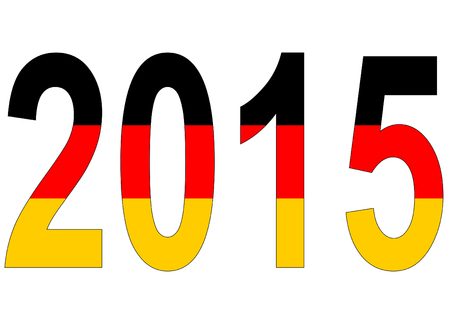 turn of the year: 2015 in Germany colors on white background Illustration