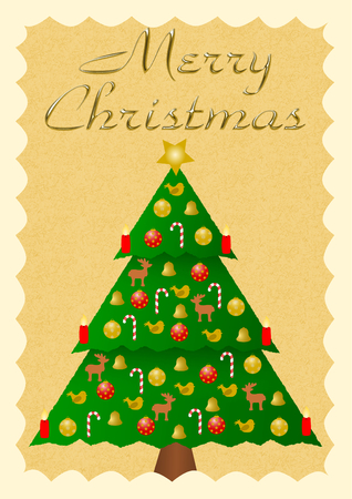 colorfully: Merry Christmas in shiny gold letters with a colorfully decorated christmas tree
