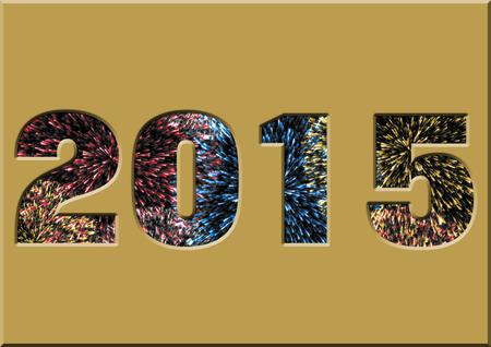 Número 2015, con fuegos artificiales de colores. Foto de archivo.