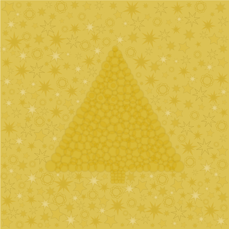 placemats: Golden Christmas tree made   8203;  8203;of circles and with different stars Stock Photo