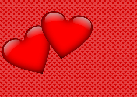 Two red hearts on a red background with small hearts and with a large copyspace photo