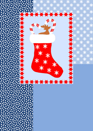 A filled red christmas stocking edged with red stars on different blue pattern with a large copyspace