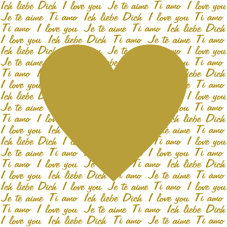 polyglot: A large golden heart in the middle on the lettering I love you in 4 different languages in gold on a white background in a square format Illustration