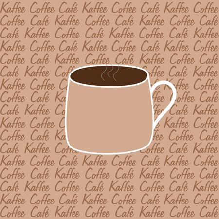quadratic: Una tazza di caff� su uno sfondo beige con il caff� scritta in tre lingue diverse