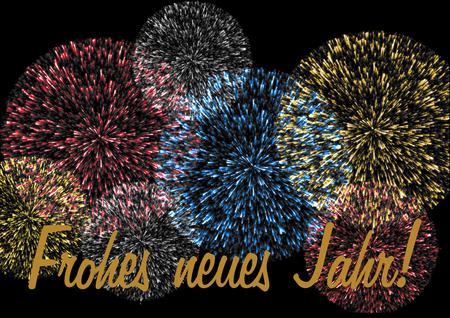 turns of the year: Happy New Year lettering in German on a colorful firework on a black background Frohes neues Jahr Schriftzug auf einem farbenfrohen Feuerwerk auf einem schwarzen Hintergrund