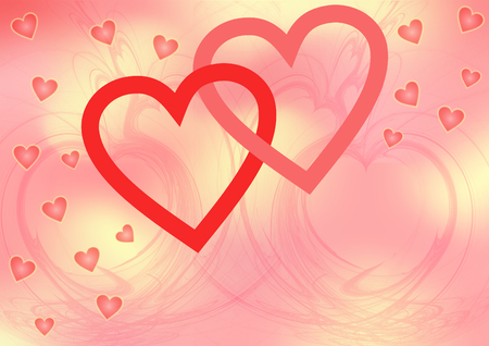 Two red intertwined big open hearts surrounded with smal pink hearts on a pink yellow patterned background with a large copyspace photo