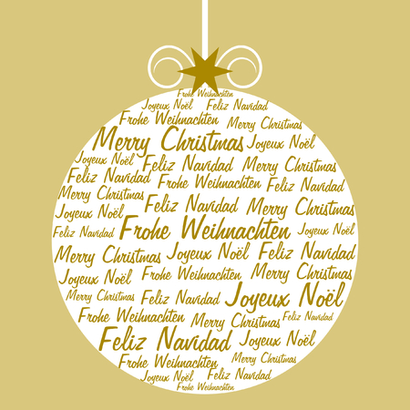 A christmas ball formed and filled with christmas wishes in four different languages in gold on light gold background in a square format