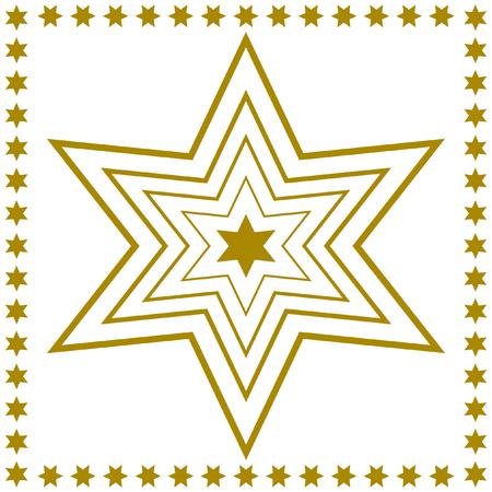 quadratic: Estrella de oro describe dentro de la otra en el medio filo con estrellas doradas sobre fondo blanco en un formato cuadrado