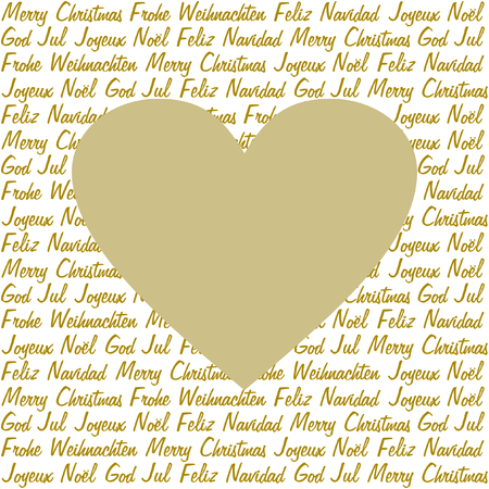 A golden heart on christmas wishes in gold in five different languages on white in a square format Vector