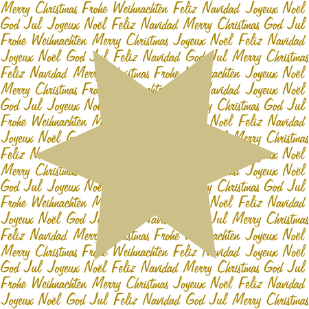 polyglot: A golden star on christmas wishes in gold in five different languages on white in a square format Illustration
