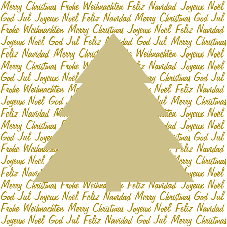 polyglot: A golden christmas tree on christmas wishes in gold in five different languages on white in a square format