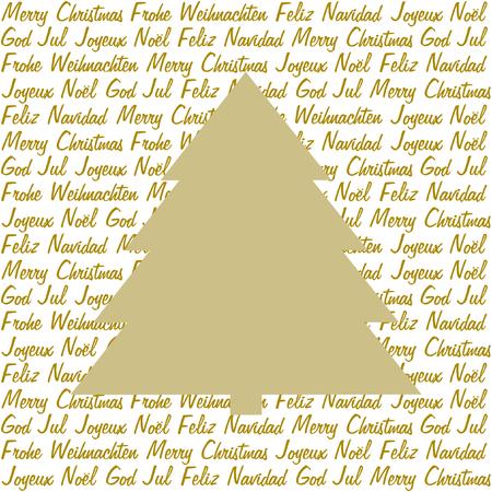 quadratic: Un albero di Natale d'oro su Natale vuole in oro in cinque lingue differenti su bianco in un formato quadrato Vettoriali