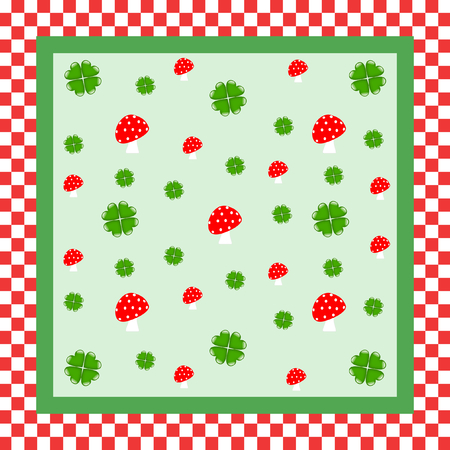 cloverleaves: Lucky cloverleaves and toadstools on light green and on red and white checkerboard patterned background in a quadratic format