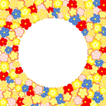 quadratic: Un sacco di fiori colorati disposti intorno ad una grande casella di testo circolare in un formato quadrato