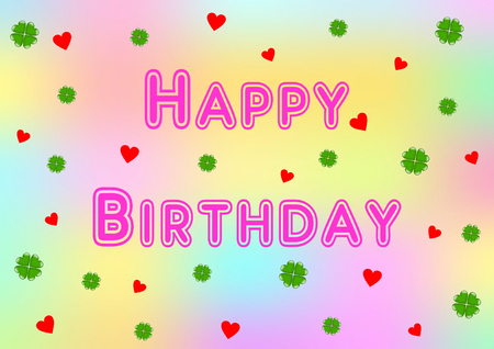 cloverleaves: Happy Birthday lettering in pink with many shamrocks and hearts on a colorful background Stock Photo
