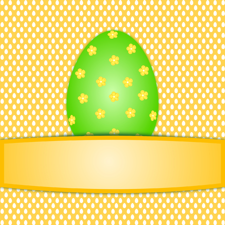Large Colorful Green Easter Egg On White Orange Easter Egg Pattern ...