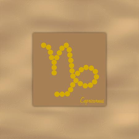capricornus: Symbol of the zodiac sign capricornus on the element earth color brown in a square format