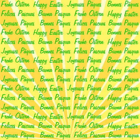 polyglot: Happy Easter in six different languages on a yellow orange beam pattern in a quadratic format