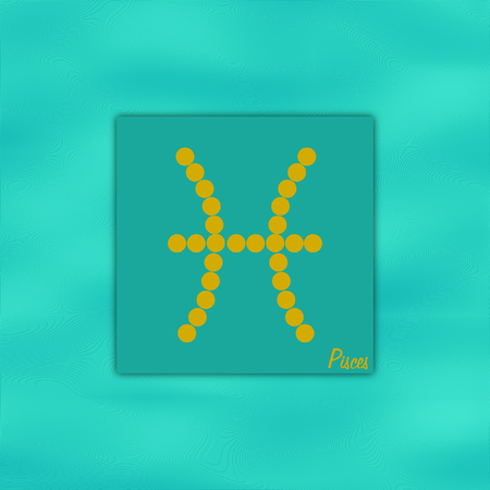 foresight: Symbol of the zodiac sign pisces on the element water color  turquois in a square format Stock Photo