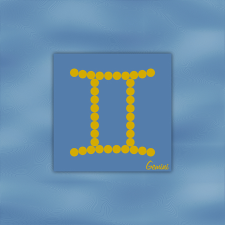 Symbol of the zodiac sign gemini on the element air color  blue in a square format photo