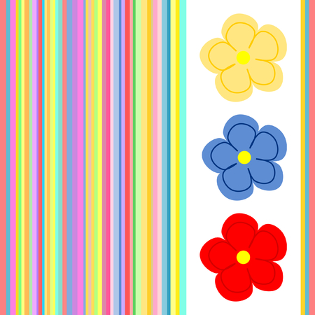 three wishes: Three colorful flowers on white background framed by multicolored stripes in a square format