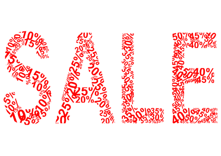 Sale lettering formed from different red colored percentages in a landscape format Vector