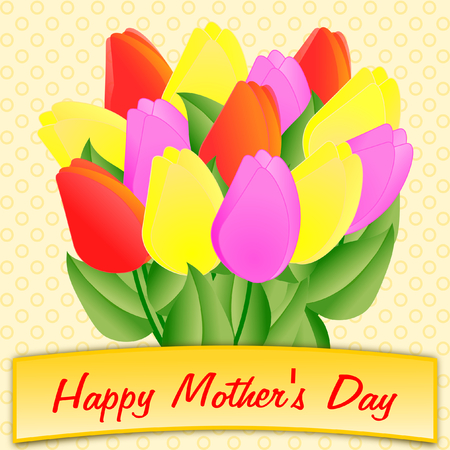 Mothers Day greeting with a large colorful bouquet of tulips in a square format photo
