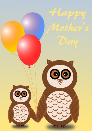 2 owls, mother and child, with colorful balloons and with mothers day greetings in English photo