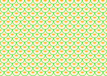offset: Many green semi-arches filled with orange semi-circles offset placed in rows on a pastel orange background