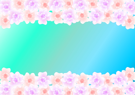 Pastel-colored flowers on the top and bottom on a turquoise blue gradient with a large copyspace in the middle  in a landscape format