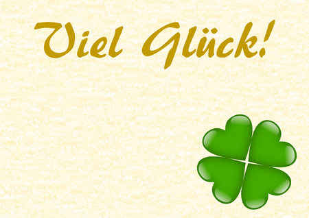 textfield: Good luck in German with a green shamrock shaped from hearts with a large copy space in a landscape format