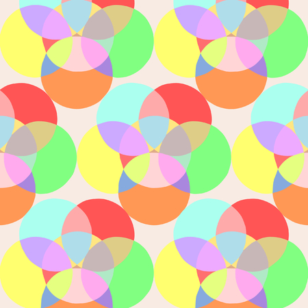 Pattern of colorful circles in a square format