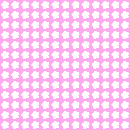 White blossoms in rows on pink background in a square format Çizim