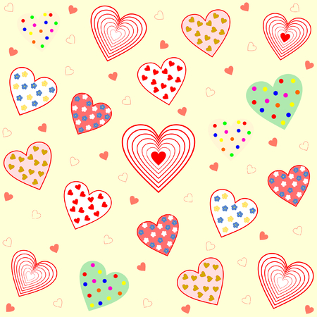 Many hearts filled with different pattern on a light yellow background in a square format