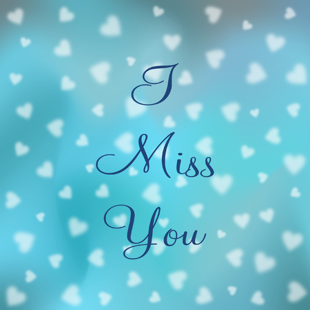 I miss you lettering on different shades of blue with blurry white hearts in a square format Stok Fotoğraf