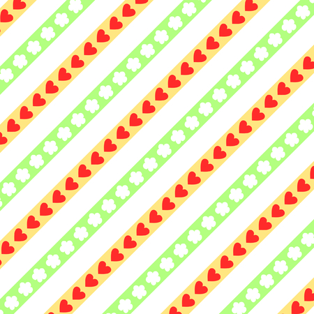 diagonally: Red hearts and white flowers on yellow and green diagonally stripes on white background in a square format