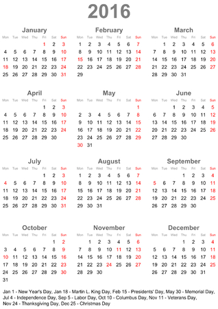 Simple calendar 2016 starts Monday with public holidays for the USA in a portrait format