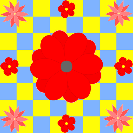 quadratic: Different red flowers on yellow and blue squares in a quadratic format