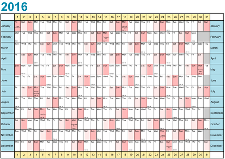Year Planner 2016 linear with public holidays for the USA in a landscape format