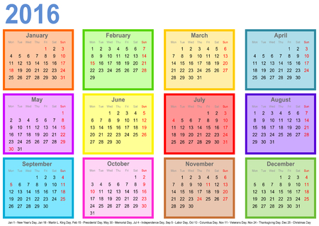 Calendar 2016 with colorful squares for each month and markings of public holidays for the USA