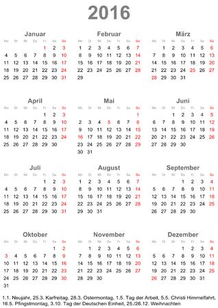 Einfacher Kalender 2016 beginnt am Montag mit Feiertagen für Deutschland in einem Porträt-Format