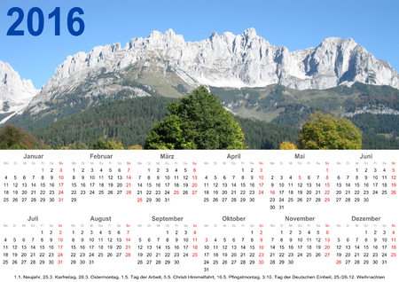 public holiday: Annual calendar 2016 with mountain landscape above and public holiday markings for Germany