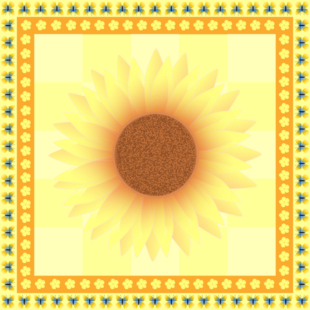 edged: One large sunflower in the middle on yellow edged with tiny flowers and butterflies in a square format