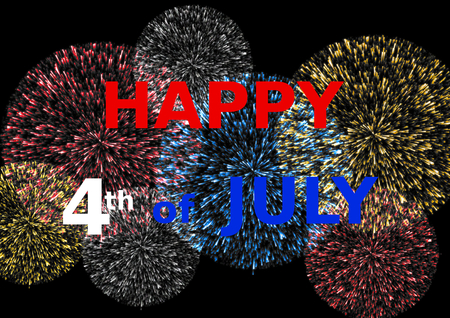 landscape format: Happy 4th of July lettering in red white and blue on colorful fireworks in a landscape format Stock Photo