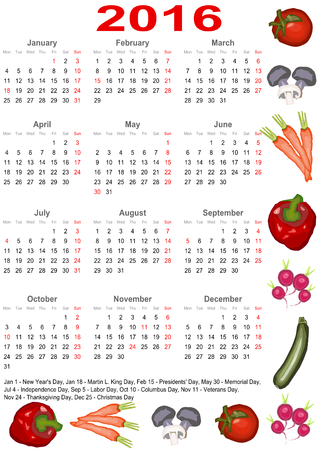 Calendar 2016 with markings and a list of public holidays for the USA edged with various vegetables