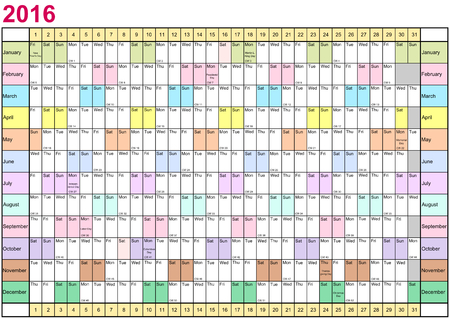linearly: Year Planner 2016 linearly with public holidays and each month in different bright colors for the USA