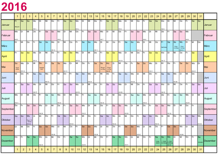 linearly: Year Planner 2016 linearly with public holidays and each month in different bright colors for Germany